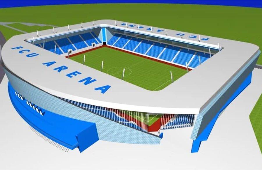 """""""FCU ARENA"""". Adrian Mititelu asigură că în mai 2021 va fi gata stadionul pe care îl va ridica din surse proprii în Bănie. Patronul lui FC U Craiova 1948 a prezentat imagini cu ceea ce se vrea a fi forma finală a proiectului viitoarei arene de 13.000 de locuri."""