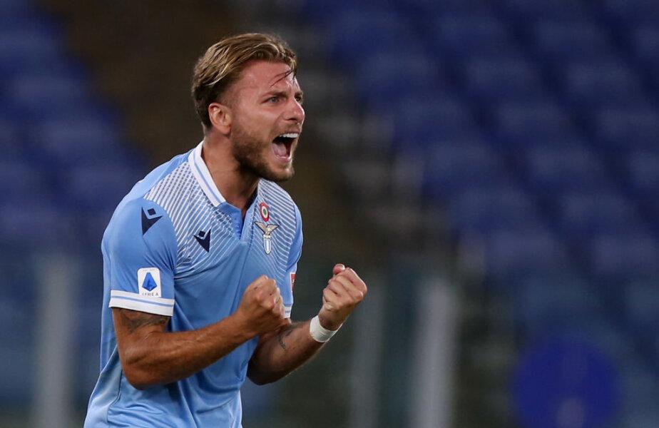 IL BOMBER BIANCOCELESTE. Ciro Immobile, 30 de ani, are un sezon fabulos în tricoul lui Lazio. Cu reușita din victoria cu Brescia, 2-0, a ajuns la 35 de goluri în 36 de meciuri în acest sezon! E lider în clasamentul golgeterilor din Serie A, dar și în lupta pentru Gheata de Aur a Europei. Singurul care îl mai poate depăși în ultima etapă este Ronaldo (31 de goluri). Foto: Guliver/GettyImages